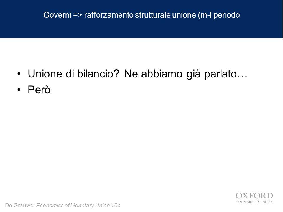 Governi => rafforzamento strutturale unione (m-l periodo