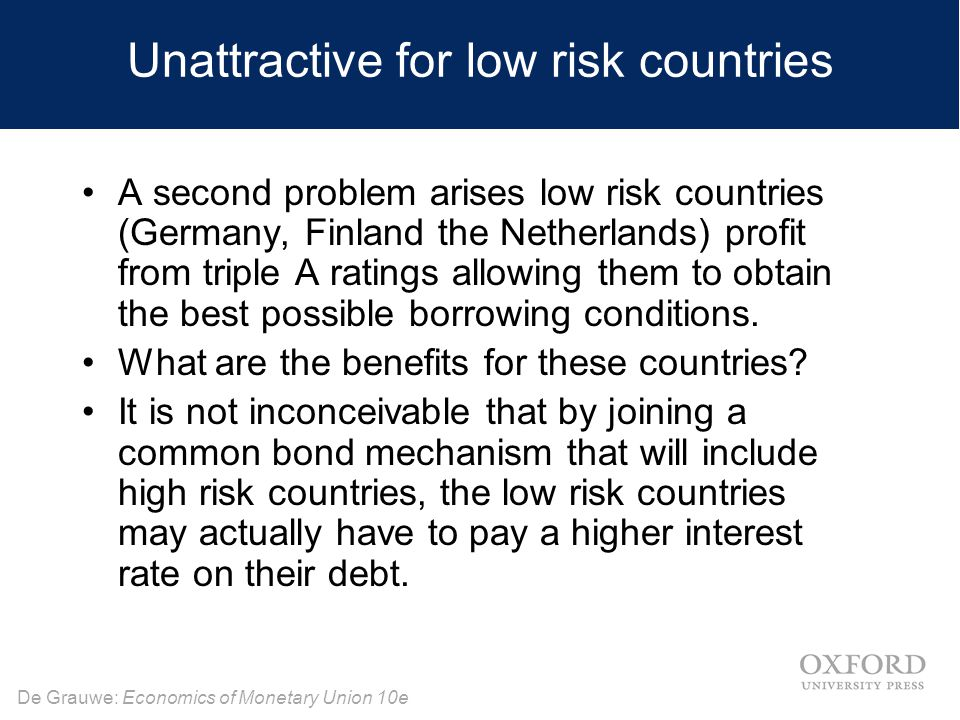Unattractive for low risk countries
