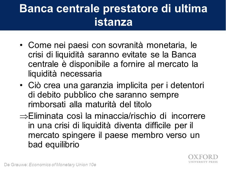 Banca centrale prestatore di ultima istanza