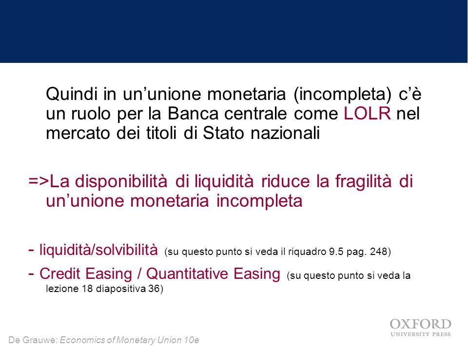 Quindi in un'unione monetaria (incompleta) c'è un ruolo per la Banca centrale come LOLR nel mercato dei titoli di Stato nazionali
