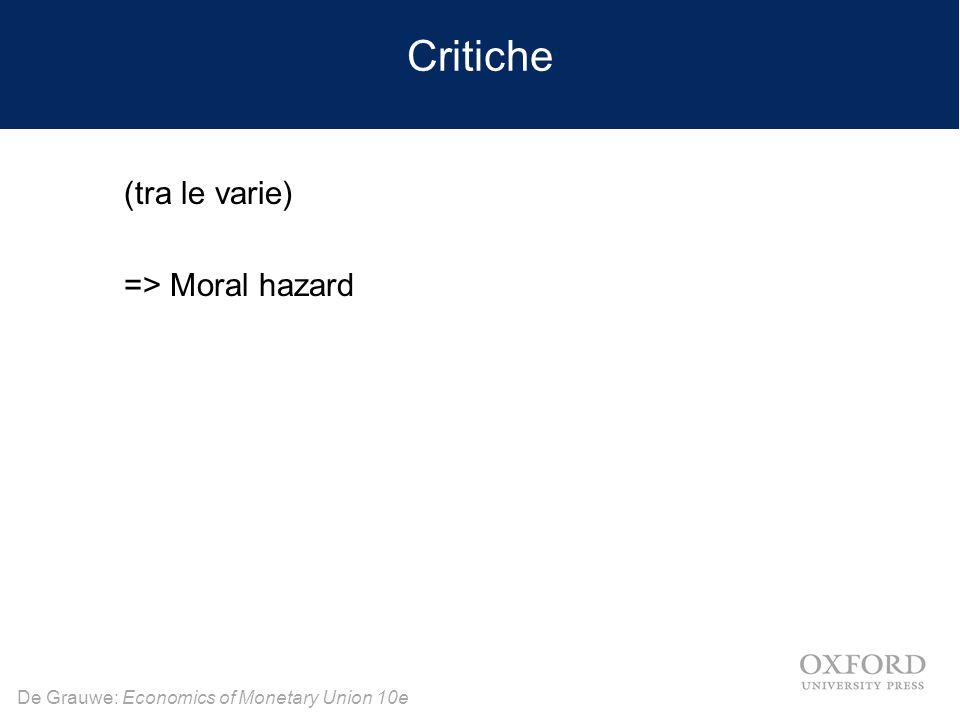 Critiche (tra le varie) => Moral hazard