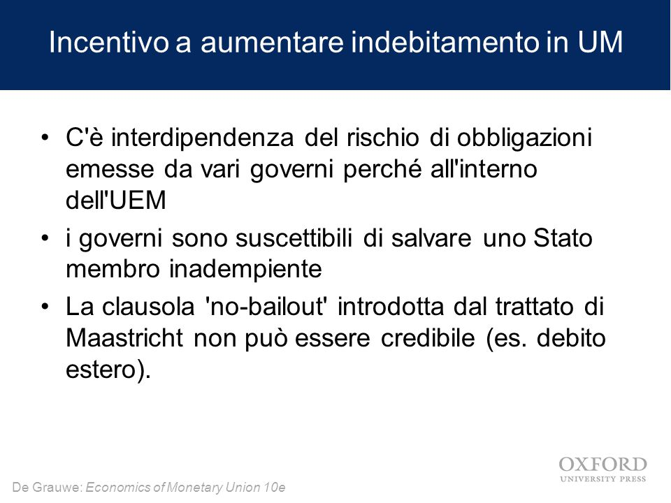 Incentivo a aumentare indebitamento in UM