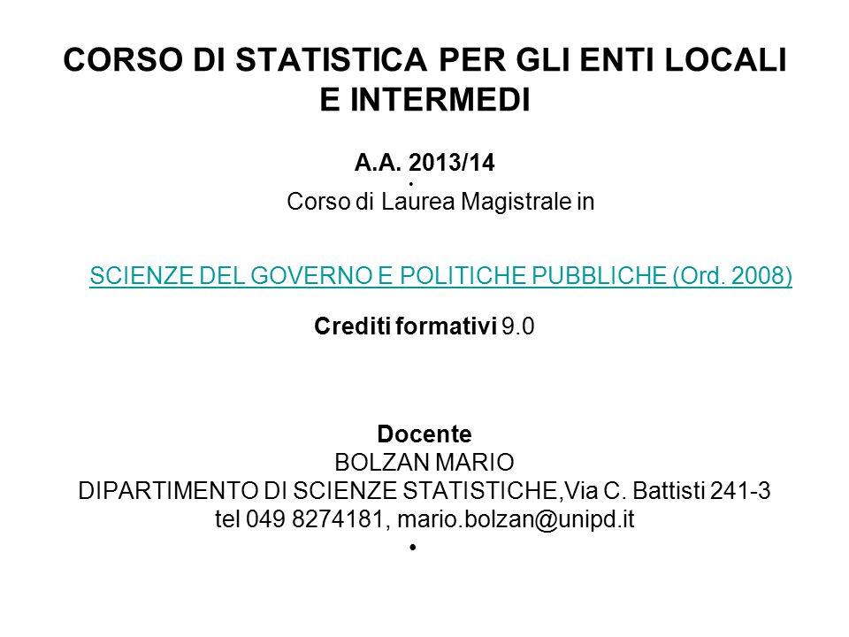 CORSO DI STATISTICA PER GLI ENTI LOCALI E INTERMEDI