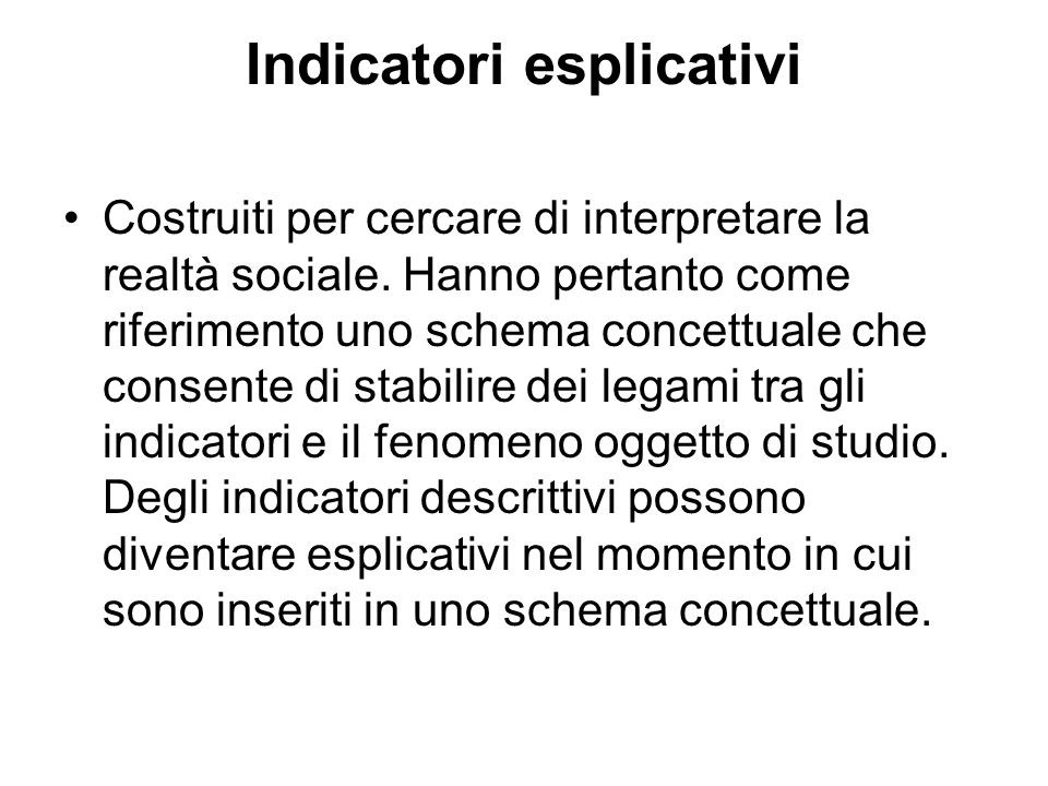 Indicatori esplicativi