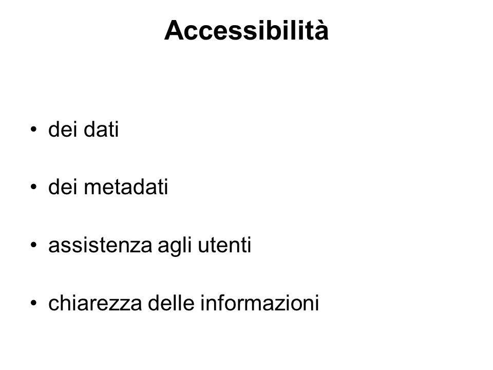 Accessibilità dei dati dei metadati assistenza agli utenti