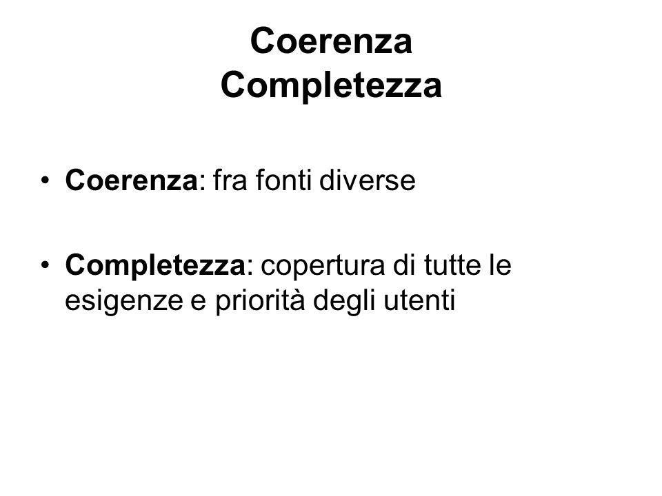 Coerenza Completezza Coerenza: fra fonti diverse