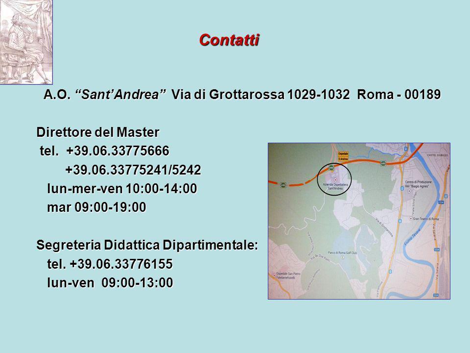 Contatti A.O. Sant'Andrea Via di Grottarossa 1029-1032 Roma - 00189