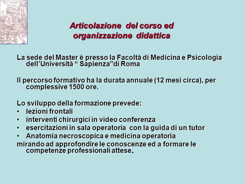 Articolazione del corso ed organizzazione didattica
