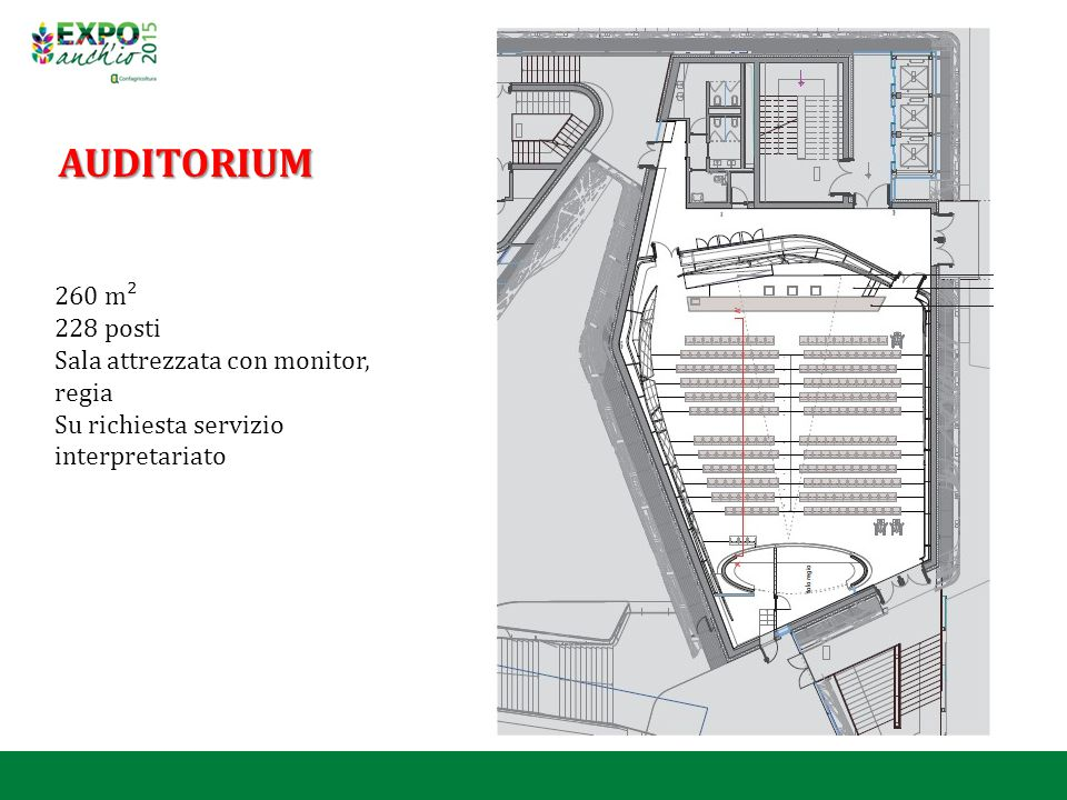 AUDITORIUM 260 m² 228 posti Sala attrezzata con monitor, regia