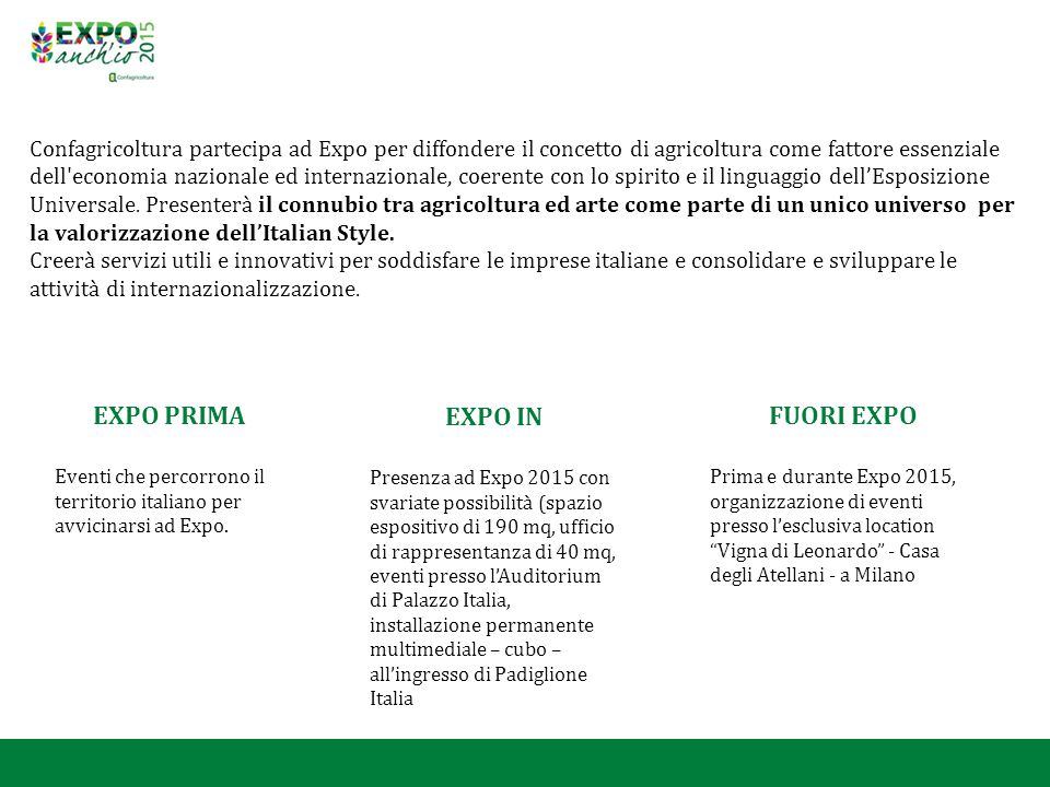 EXPO PRIMA EXPO IN FUORI EXPO