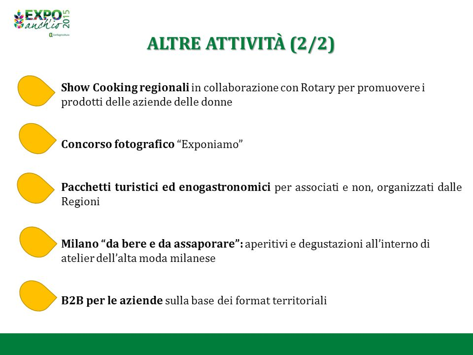 ALTRE ATTIVITÀ (2/2) Show Cooking regionali in collaborazione con Rotary per promuovere i prodotti delle aziende delle donne.