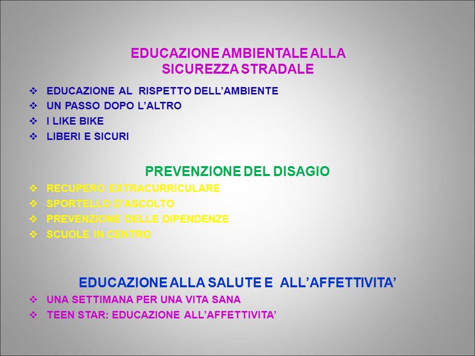 PREVENZIONE DEL DISAGIO EDUCAZIONE ALLA SALUTE E ALL'AFFETTIVITA'