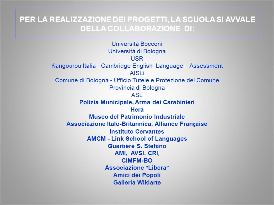 Università Bocconi Università di Bologna. USR. Kangourou Italia - Cambridge English Language Assessment.