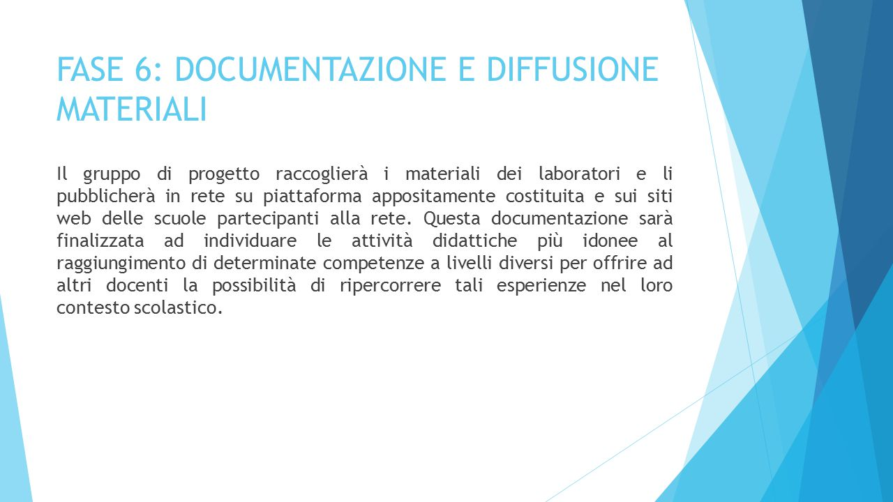 FASE 6: DOCUMENTAZIONE E DIFFUSIONE MATERIALI