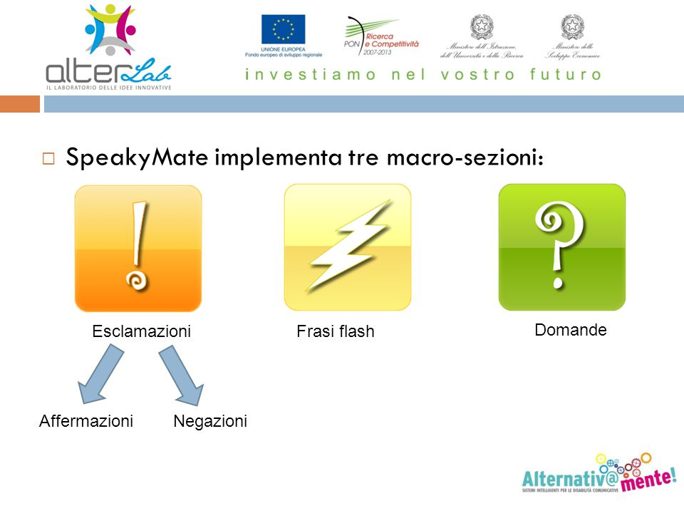 SpeakyMate implementa tre macro-sezioni: