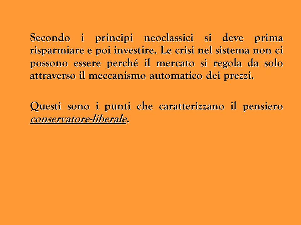 Secondo i principi neoclassici si deve prima risparmiare e poi investire. Le crisi nel sistema non ci possono essere perché il mercato si regola da solo attraverso il meccanismo automatico dei prezzi.
