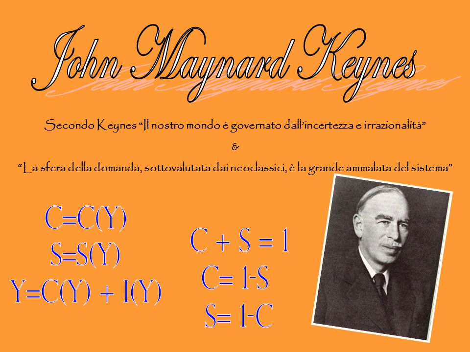 John Maynard Keynes C=C(y) S=S(y) C + S = 1 Y=C(y) + i(y) C= 1-S