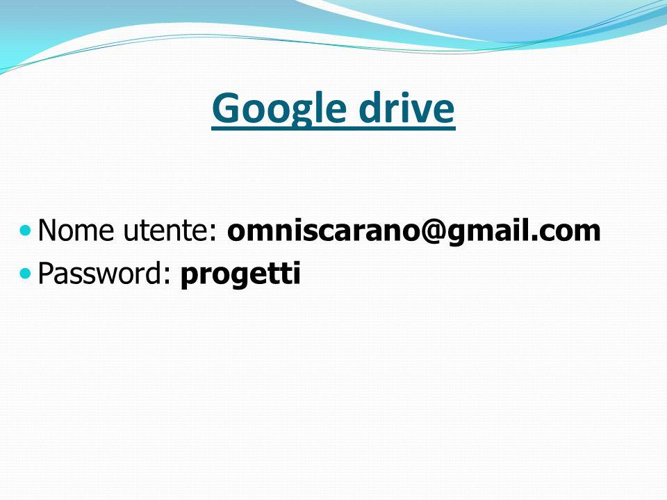 Google drive Nome utente: omniscarano@gmail.com Password: progetti