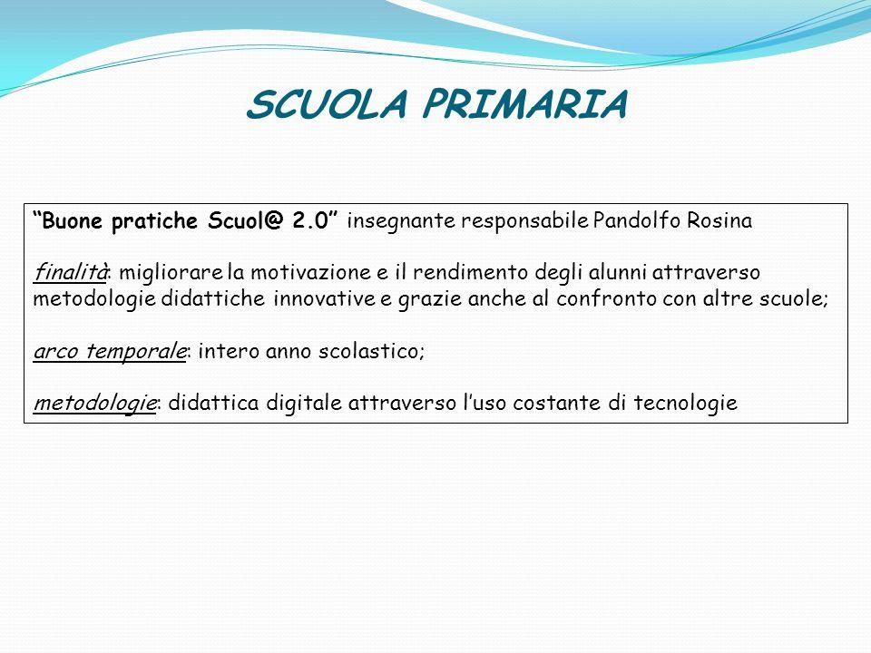SCUOLA PRIMARIA Buone pratiche Scuol@ 2.0 insegnante responsabile Pandolfo Rosina.