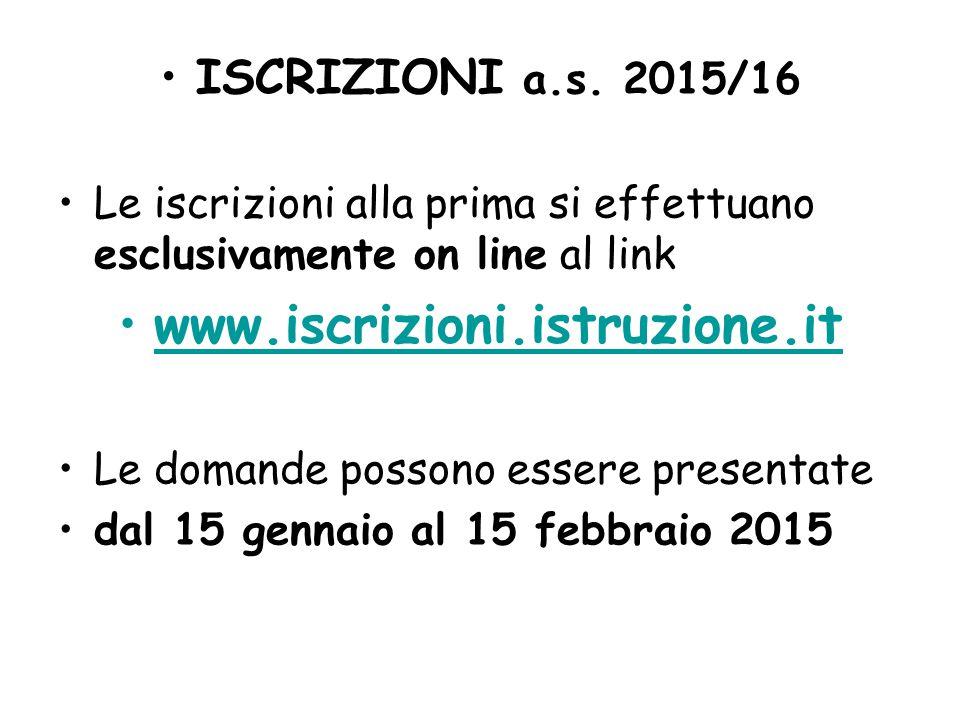www.iscrizioni.istruzione.it ISCRIZIONI a.s. 2015/16