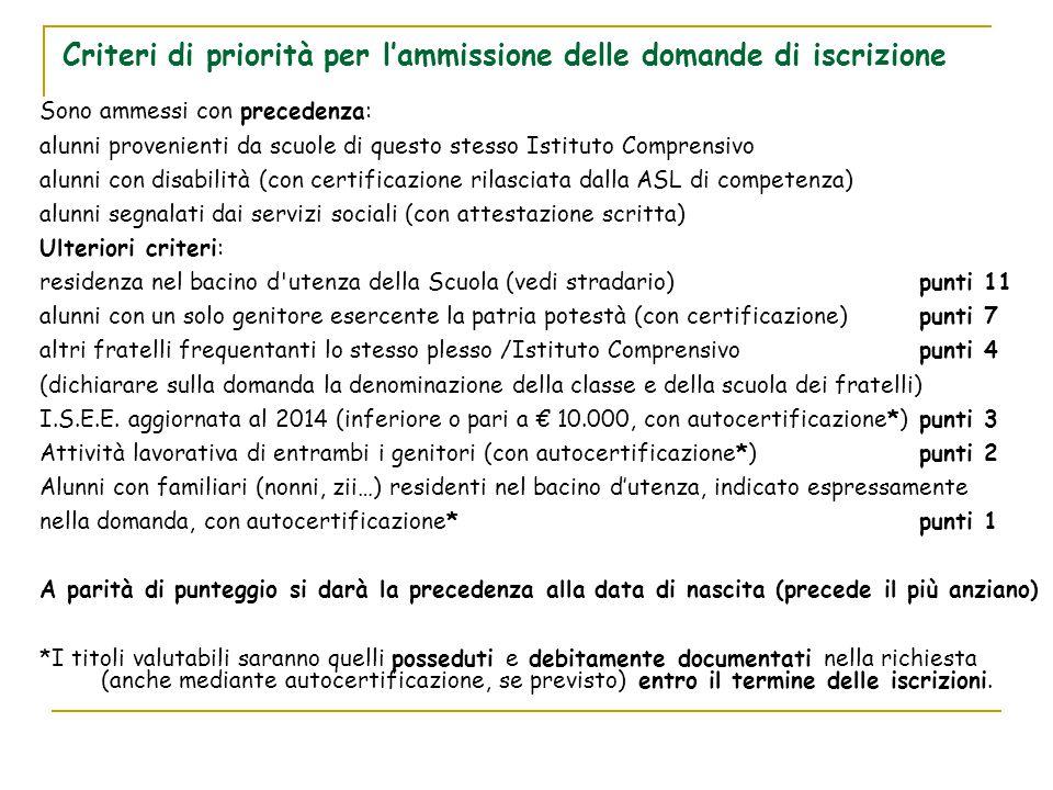 Criteri di priorità per l'ammissione delle domande di iscrizione