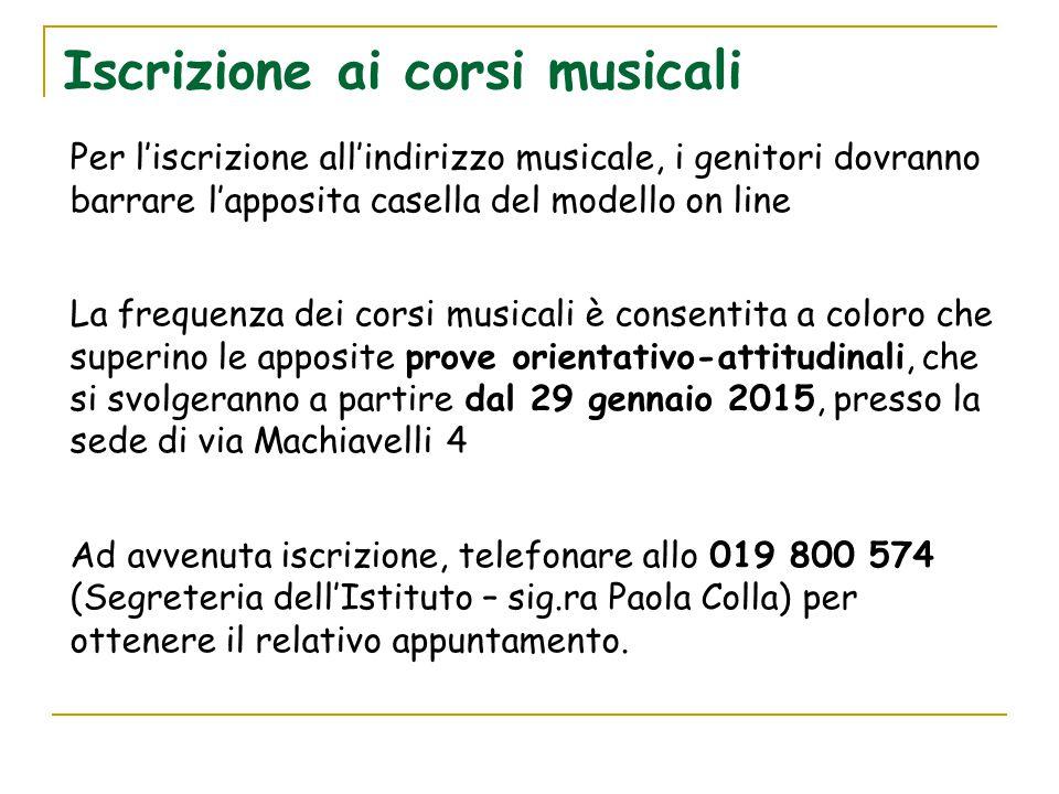 Iscrizione ai corsi musicali