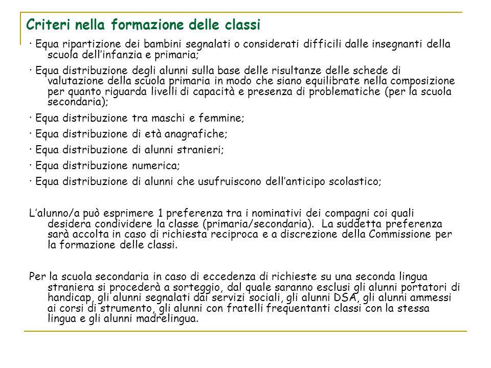 Criteri nella formazione delle classi