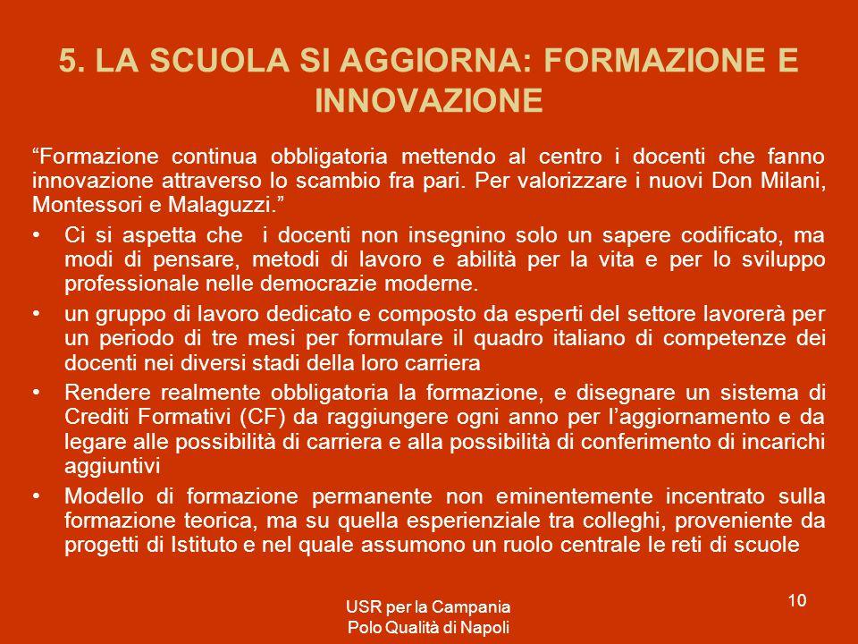 5. LA SCUOLA SI AGGIORNA: FORMAZIONE E INNOVAZIONE