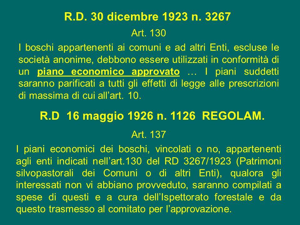 R.D. 30 dicembre 1923 n. 3267 R.D 16 maggio 1926 n. 1126 REGOLAM.