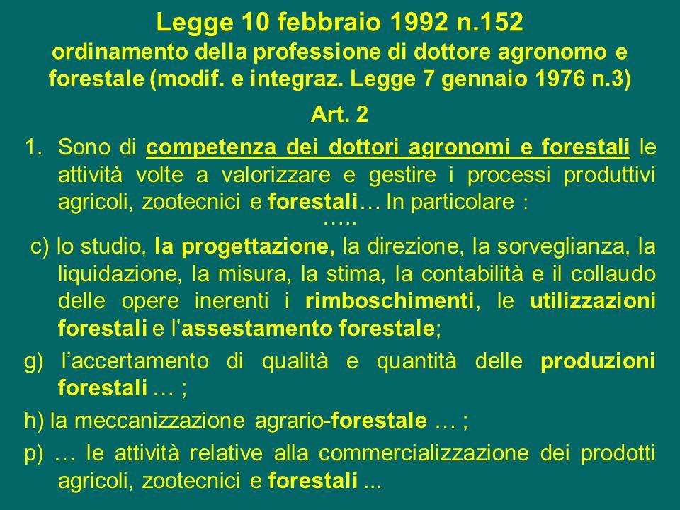 Legge 10 febbraio 1992 n.152 ordinamento della professione di dottore agronomo e forestale (modif. e integraz. Legge 7 gennaio 1976 n.3)