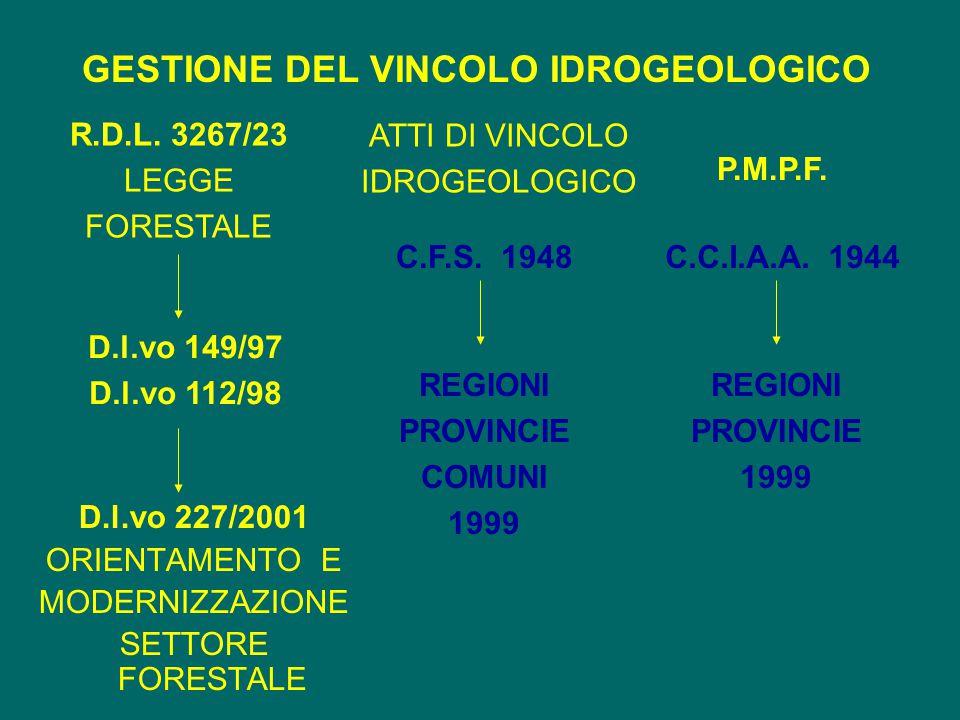 GESTIONE DEL VINCOLO IDROGEOLOGICO