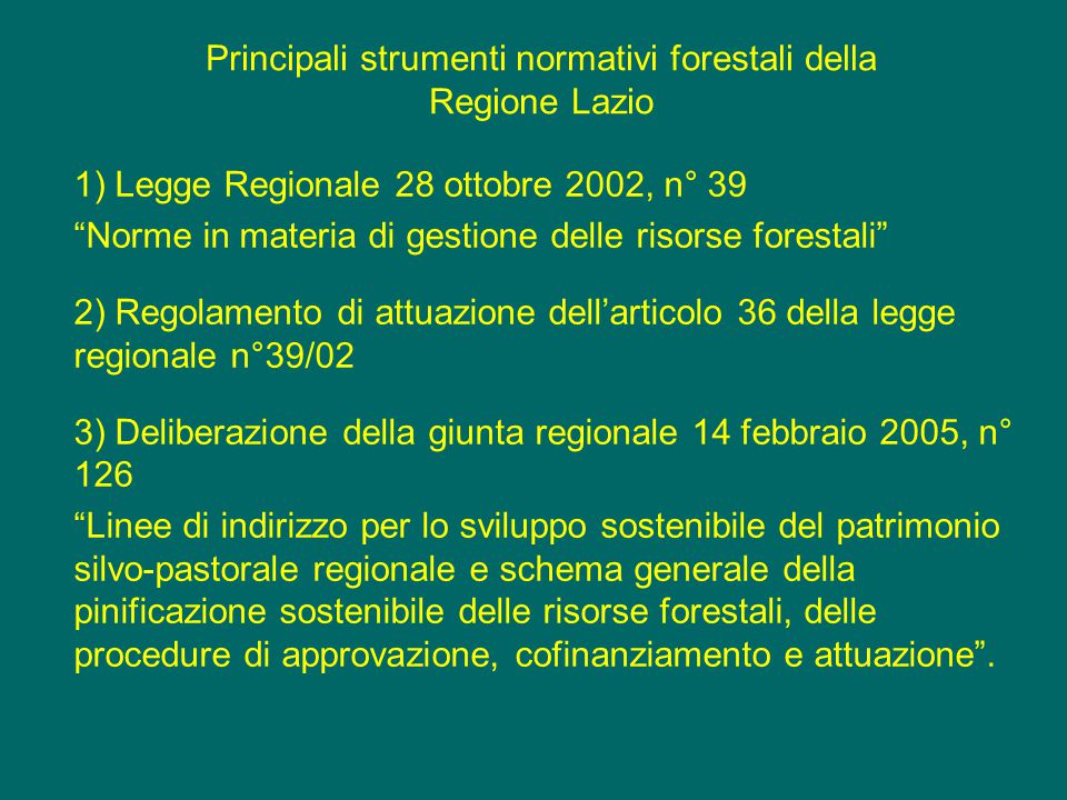 Principali strumenti normativi forestali della Regione Lazio