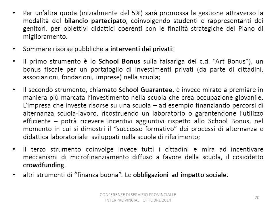 CONFERENZE DI SERVIZIO PROVINCIALI E INTERPROVINCIALI OTTOBRE 2014
