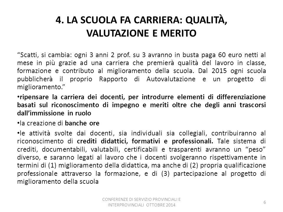 4. LA SCUOLA FA CARRIERA: QUALITÀ, VALUTAZIONE E MERITO