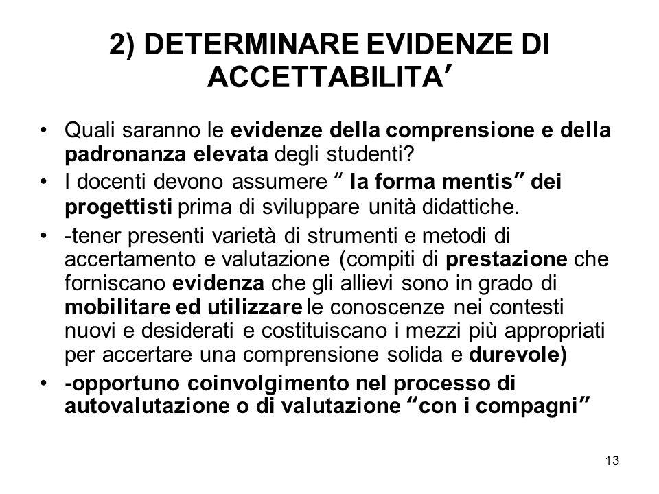 2) DETERMINARE EVIDENZE DI ACCETTABILITA'