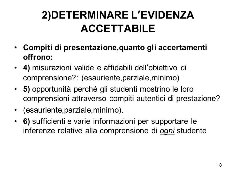 2)DETERMINARE L'EVIDENZA ACCETTABILE
