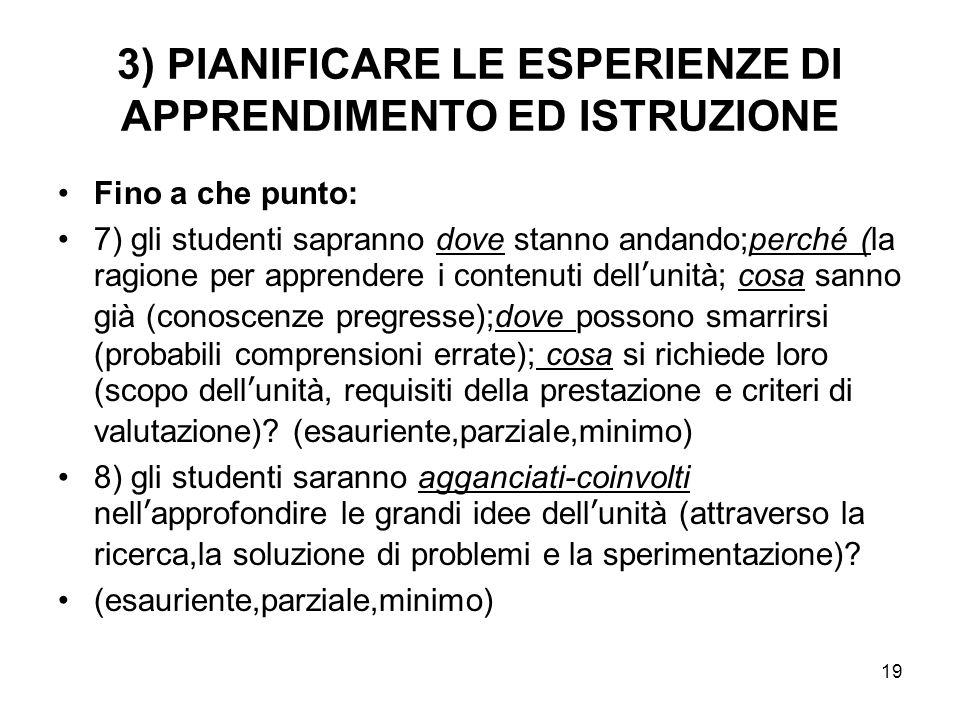 3) PIANIFICARE LE ESPERIENZE DI APPRENDIMENTO ED ISTRUZIONE