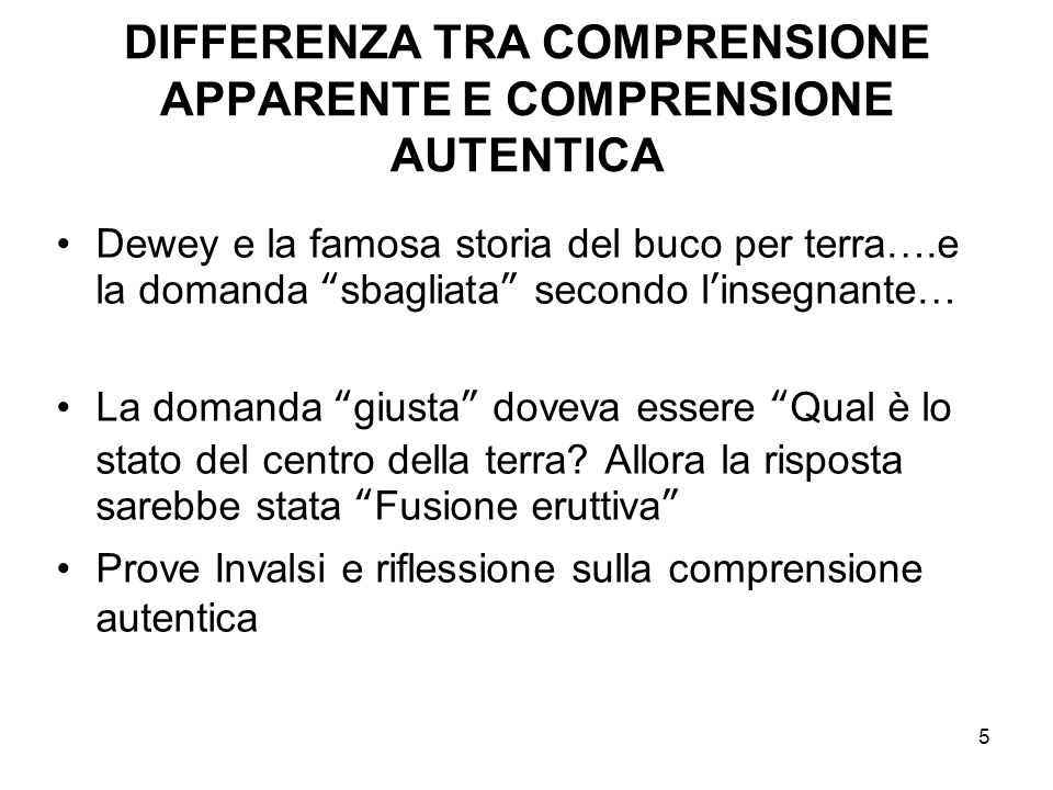 DIFFERENZA TRA COMPRENSIONE APPARENTE E COMPRENSIONE AUTENTICA