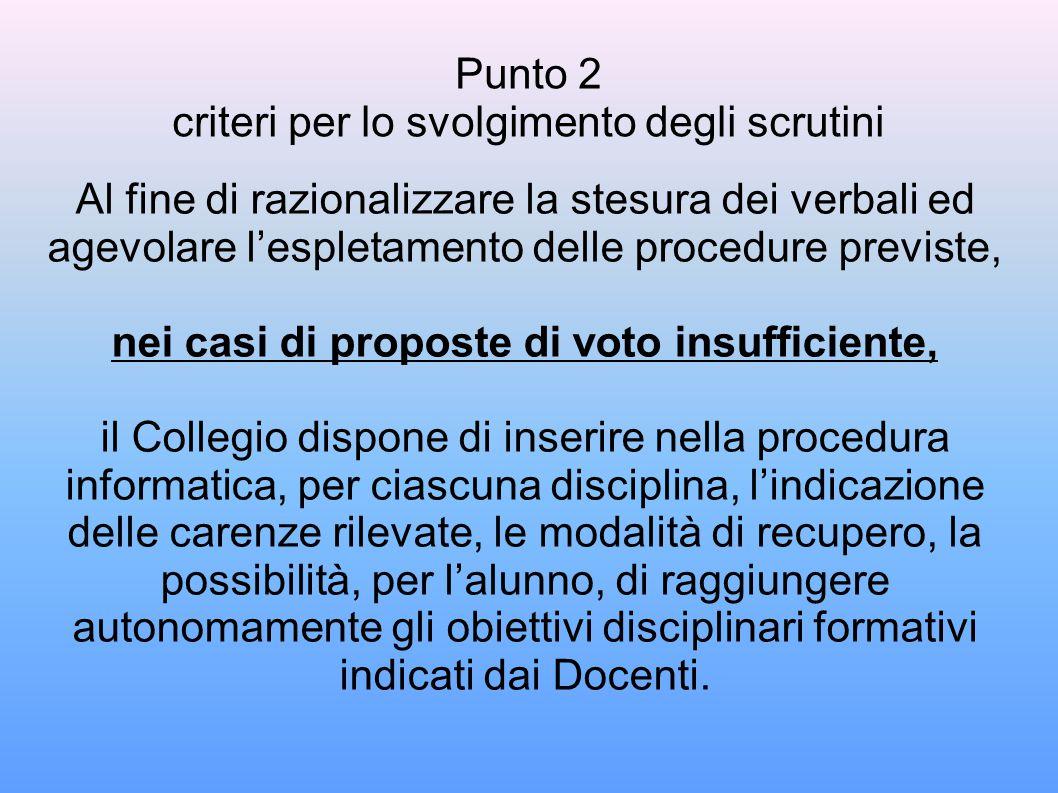 Punto 2 criteri per lo svolgimento degli scrutini
