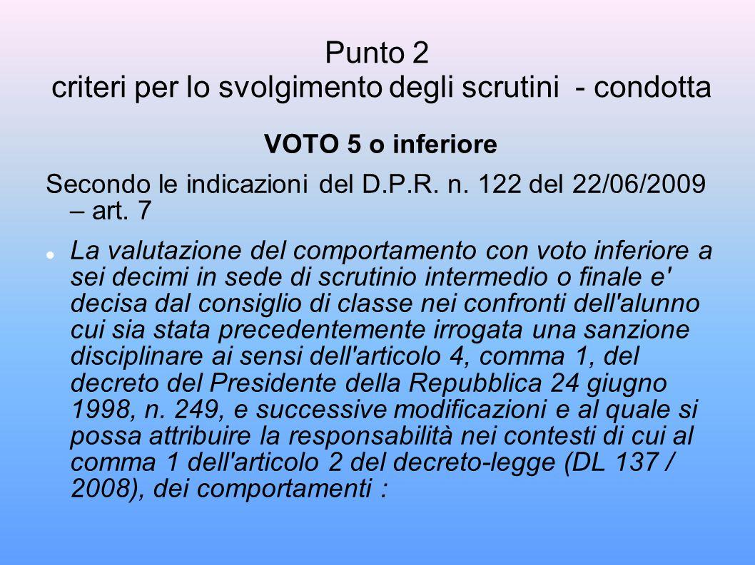 Punto 2 criteri per lo svolgimento degli scrutini - condotta