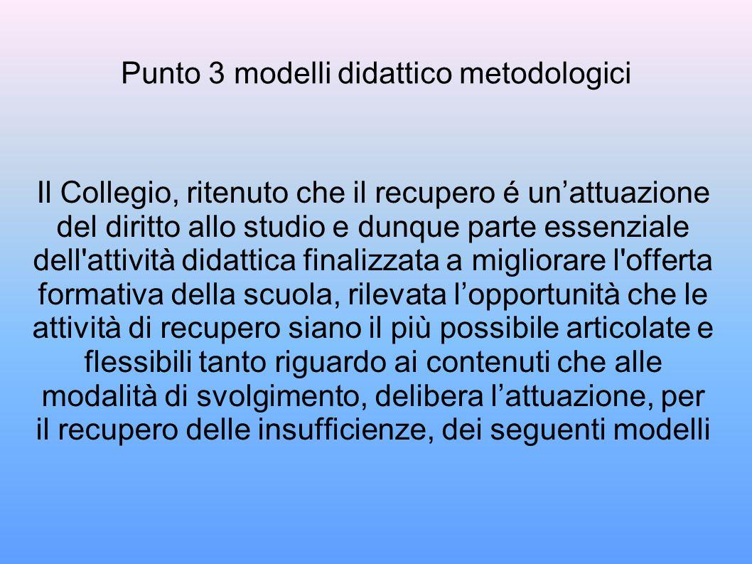 Punto 3 modelli didattico metodologici