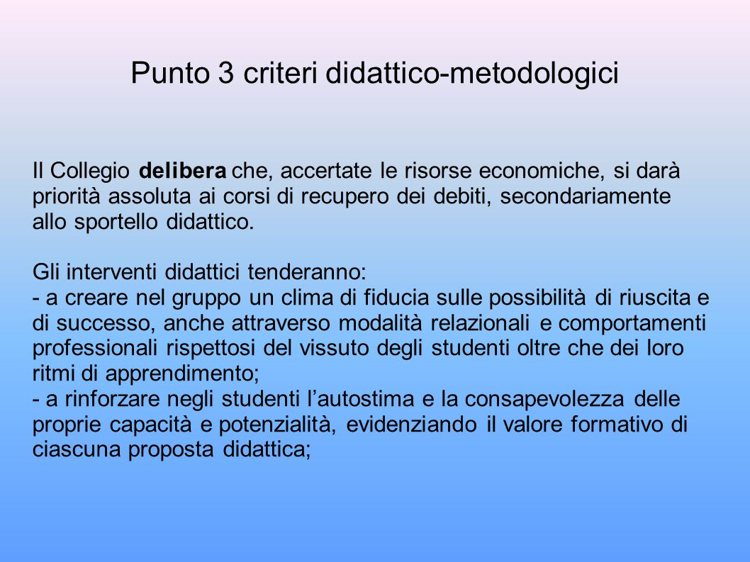 Punto 3 criteri didattico-metodologici