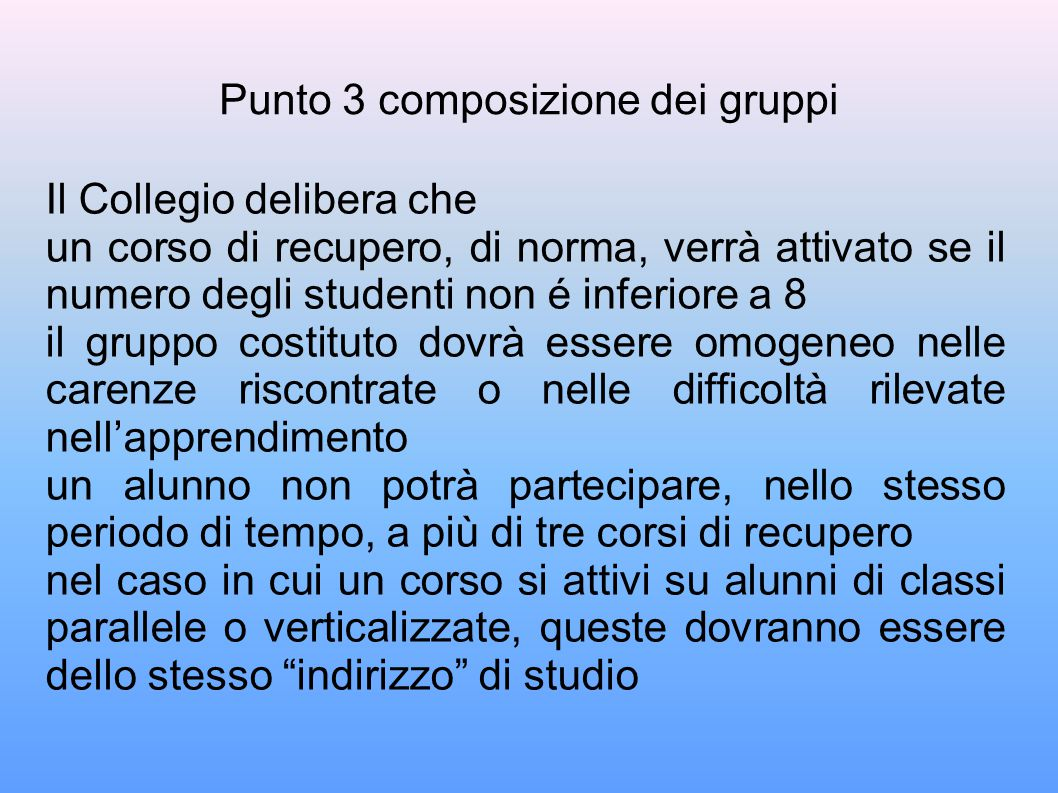 Punto 3 composizione dei gruppi