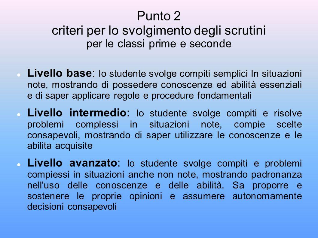 Punto 2 criteri per lo svolgimento degli scrutini per le classi prime e seconde