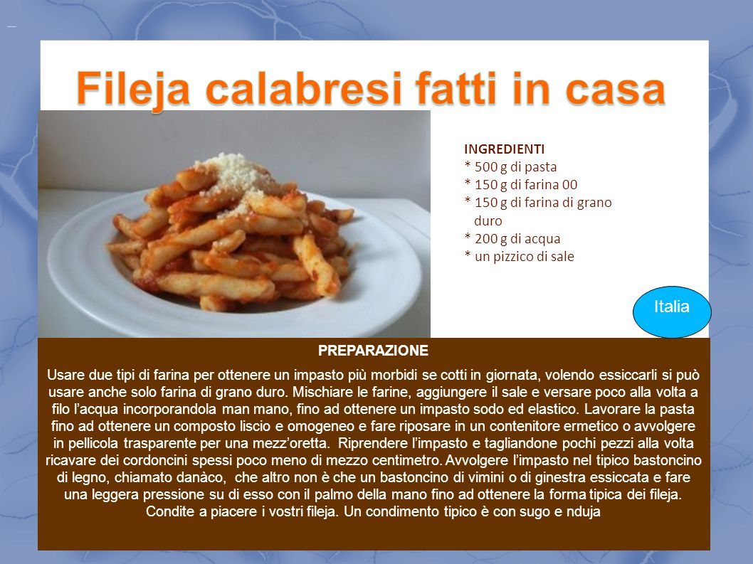 Fileja calabresi fatti in casa
