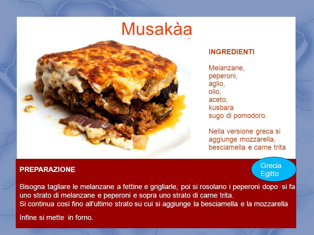 Musakàa INGREDIENTI Melanzane, peperoni, aglio, olio, aceto, kusbara