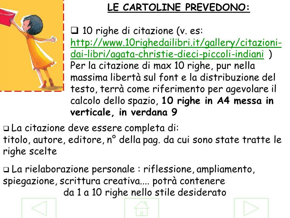 LE CARTOLINE PREVEDONO: