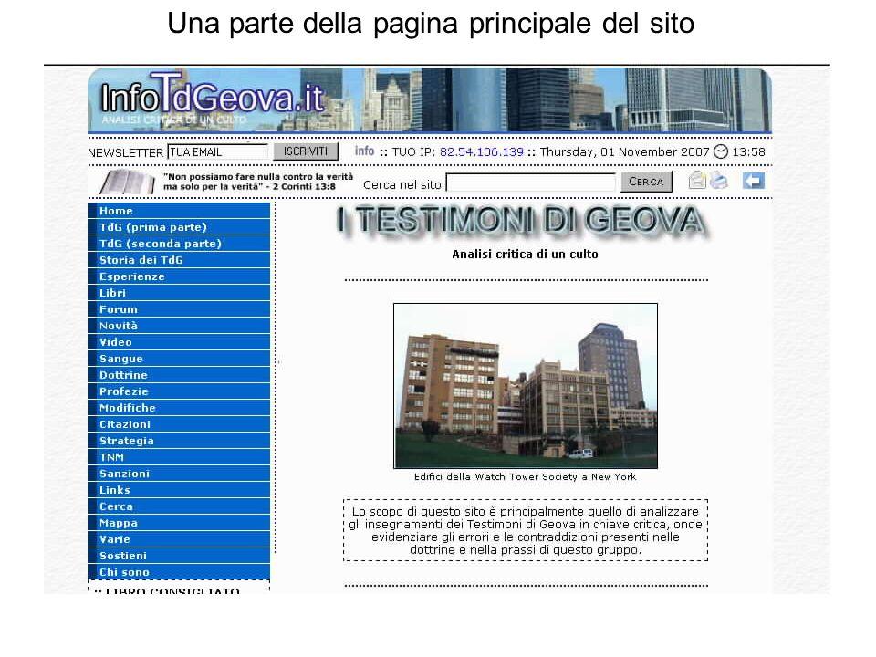 Una parte della pagina principale del sito