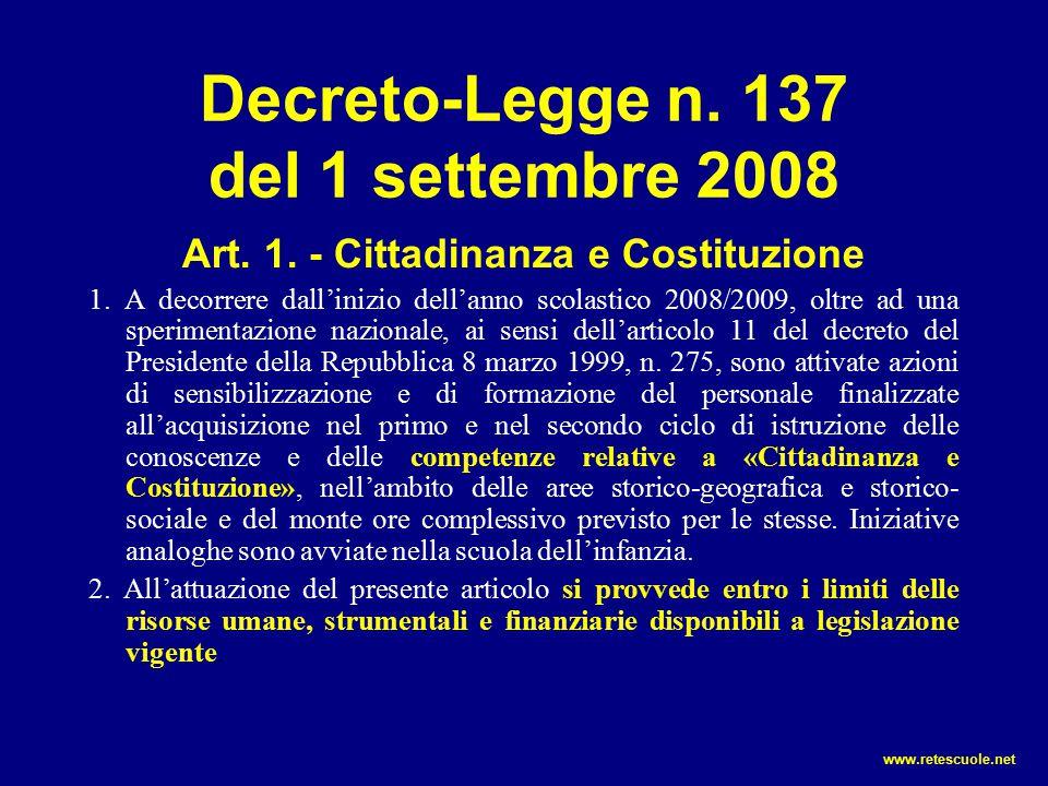 Decreto-Legge n. 137 del 1 settembre 2008