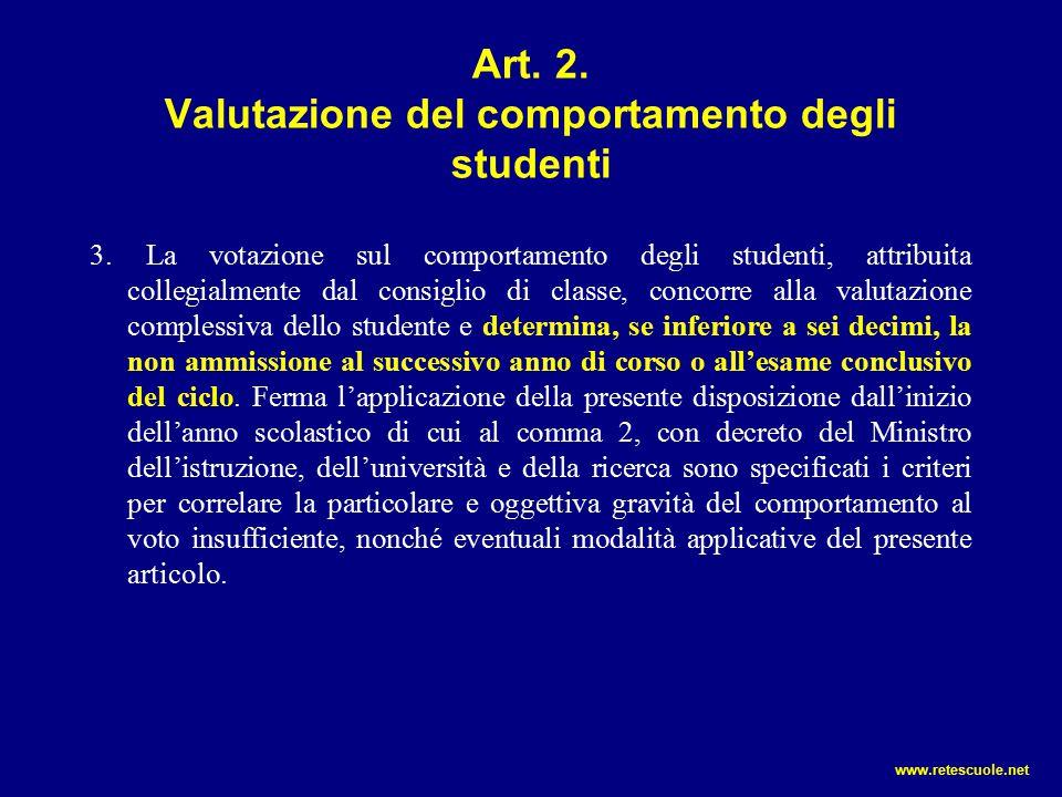 Art. 2. Valutazione del comportamento degli studenti